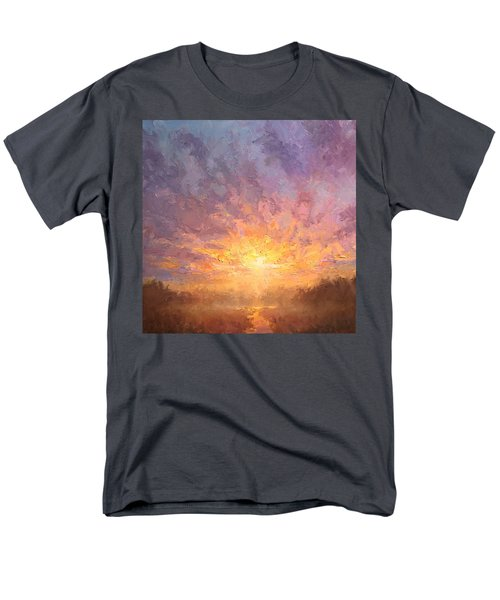Impressionistic Sunrise Landscape Painting Men's T-Shirt  (Regular Fit) by Karen Whitworth