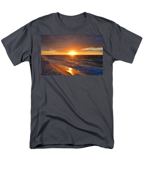 Men's T-Shirt  (Regular Fit) featuring the photograph Amazing Sunrise Colors And Waves On Navarre Beach by Jeff at JSJ Photography