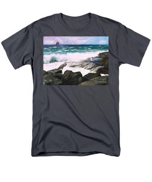 Men's T-Shirt  (Regular Fit) featuring the digital art An Egret's View Seascape by Lianne Schneider