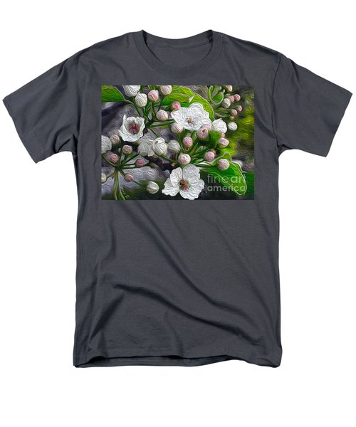 Men's T-Shirt  (Regular Fit) featuring the photograph Apple Blossoms In Oil by Nina Silver