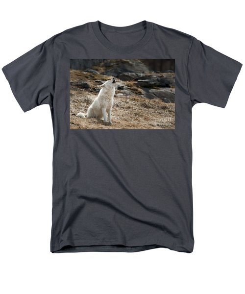 Men's T-Shirt  (Regular Fit) featuring the photograph Arctic Wolf Howling by Wolves Only