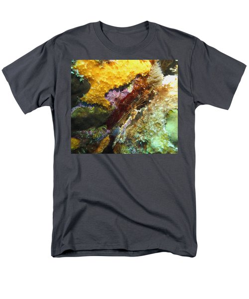 Men's T-Shirt  (Regular Fit) featuring the photograph Arrow Crab In A Rainbow Of Coral by Amy McDaniel
