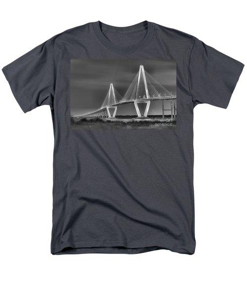 Arthur Ravenel Jr. Bridge In Black And White Men's T-Shirt  (Regular Fit) by Adam Jewell