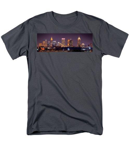 Atlanta Skyline At Night Downtown Midtown Color Panorama Men's T-Shirt  (Regular Fit) by Jon Holiday