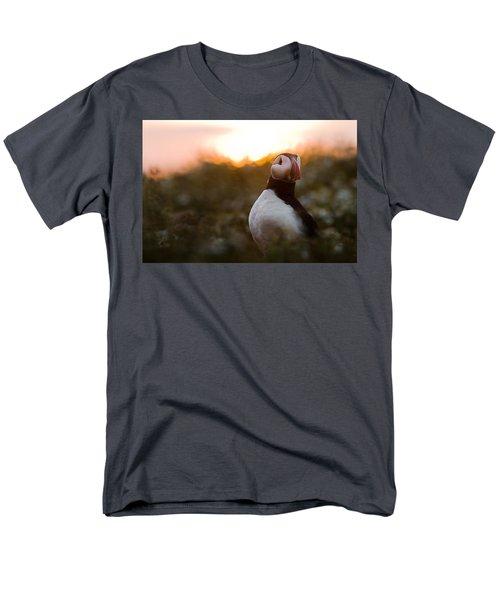 Atlantic Puffin At Sunrise Skomer Men's T-Shirt  (Regular Fit) by Sebastian Kennerknecht