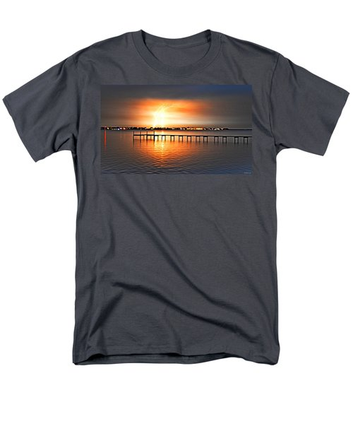Men's T-Shirt  (Regular Fit) featuring the photograph Awesome Lightning Electrical Storm On Sound by Jeff at JSJ Photography