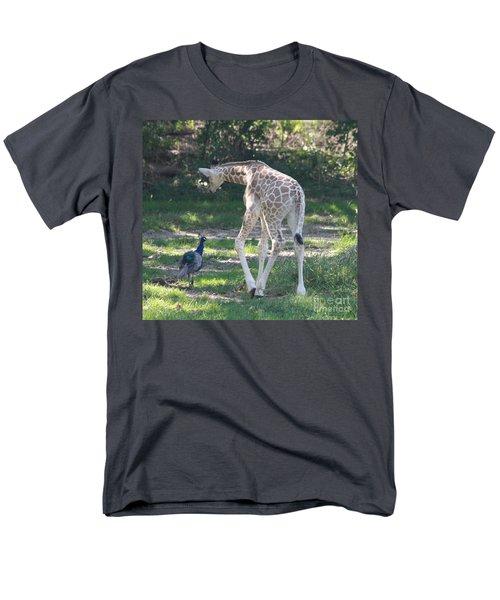 Baby Giraffe And Peacock Out For A Walk Men's T-Shirt  (Regular Fit) by John Telfer