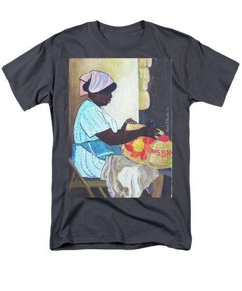 Bahamian Woman Weaving Men's T-Shirt  (Regular Fit) by Frank Hunter