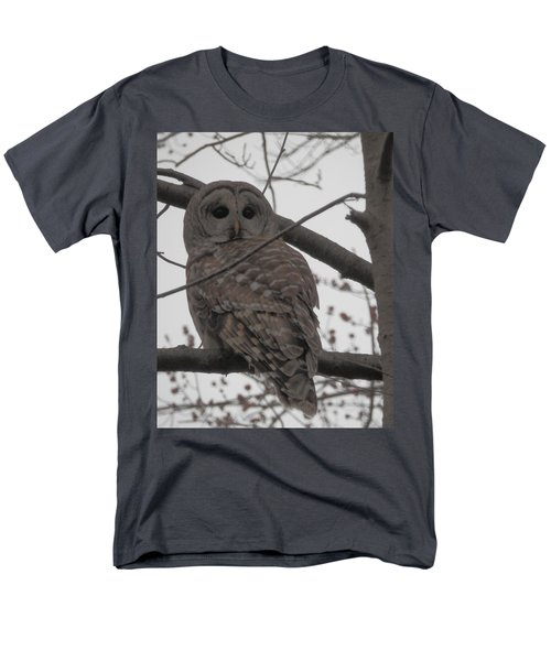 Men's T-Shirt  (Regular Fit) featuring the photograph Barred Owl Perched by Emmy Marie Vickers