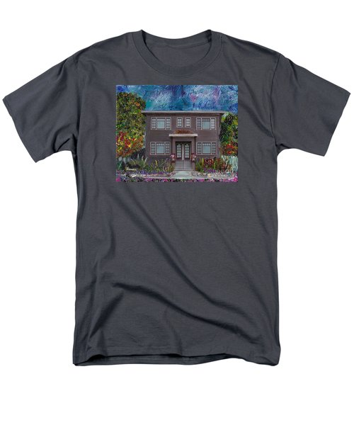 Men's T-Shirt  (Regular Fit) featuring the mixed media Alameda Bayview 1926 - Colonial Revival by Linda Weinstock