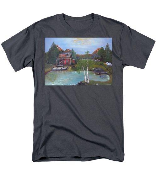 Men's T-Shirt  (Regular Fit) featuring the painting Beaver Pond - Mary Krupa by Bernadette Krupa