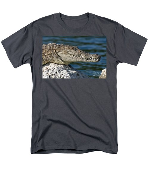 Men's T-Shirt  (Regular Fit) featuring the photograph Biscayne National Park Florida American Crocodile by Paul Fearn