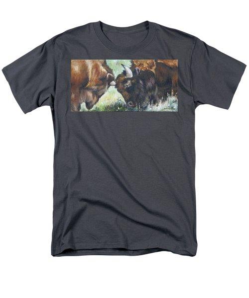 Men's T-Shirt  (Regular Fit) featuring the painting Bison Brawl by Lori Brackett