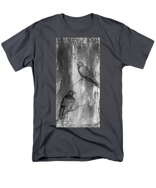 Men's T-Shirt  (Regular Fit) featuring the painting Black And White Ravens by Laurianna Taylor