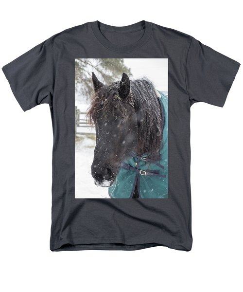 Black Horse In Snow Men's T-Shirt  (Regular Fit)