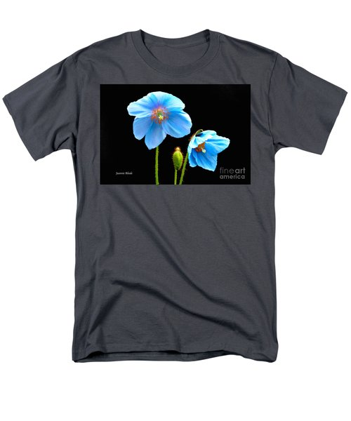 Men's T-Shirt  (Regular Fit) featuring the photograph Blue Poppy Flowers # 4 by Jeannie Rhode