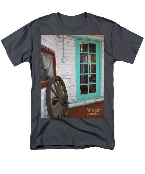 Men's T-Shirt  (Regular Fit) featuring the photograph Blue Window And Wagon Wheel by Dora Sofia Caputo Photographic Art and Design