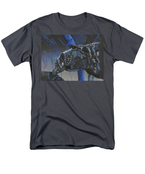 Blue Wolves With Stars Men's T-Shirt  (Regular Fit)