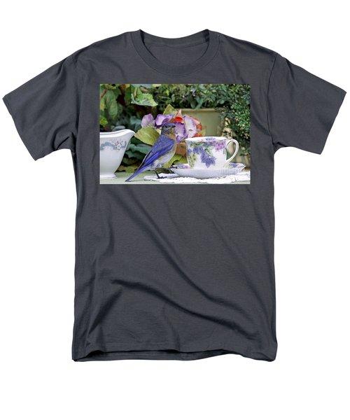 Bluebird And Tea Cups Men's T-Shirt  (Regular Fit) by Luana K Perez