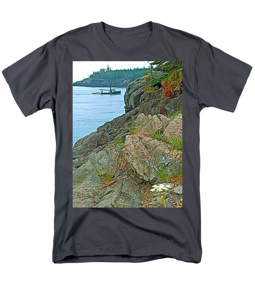 Boat By East Quoddy Bay On Campobello Island-nb Men's T-Shirt  (Regular Fit) by Ruth Hager