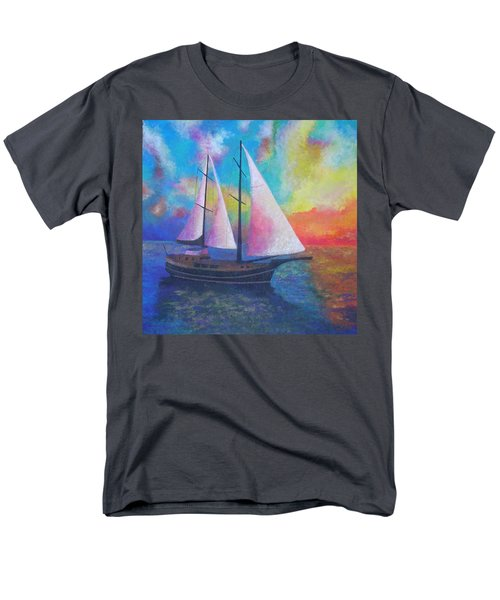 Men's T-Shirt  (Regular Fit) featuring the painting Bodrum Gulet Cruise by Tracey Harrington-Simpson