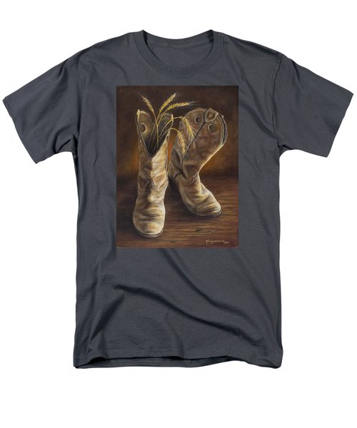 Men's T-Shirt  (Regular Fit) featuring the painting Boots And Wheat by Kim Lockman