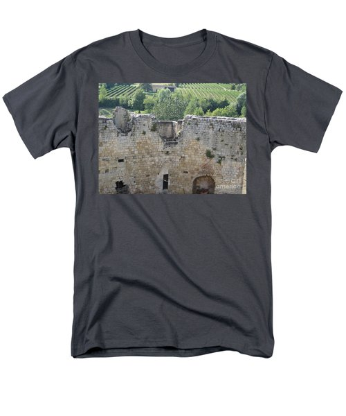 Men's T-Shirt  (Regular Fit) featuring the photograph Bordeaux Castle Ruins With Vineyard by HEVi FineArt