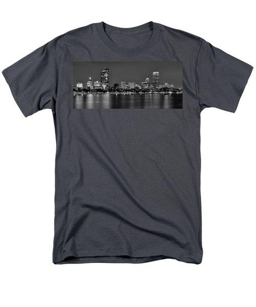 Boston Back Bay Skyline At Night Black And White Bw Panorama Men's T-Shirt  (Regular Fit) by Jon Holiday