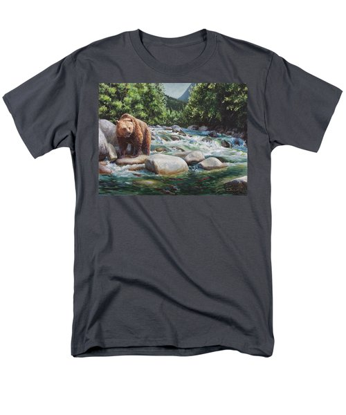 Brown Bear On The Little Susitna River Men's T-Shirt  (Regular Fit) by Karen Whitworth