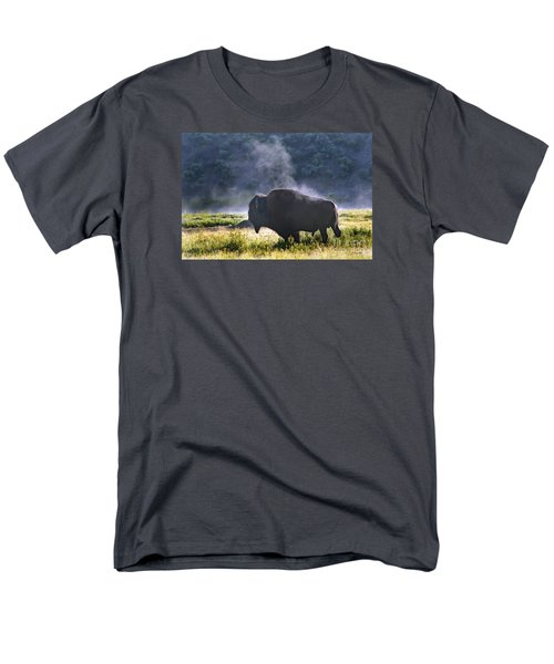 Buffalo Steam-signed-#2170 Men's T-Shirt  (Regular Fit) by J L Woody Wooden