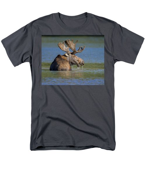 Men's T-Shirt  (Regular Fit) featuring the photograph Bull Moose At Fishercap by Jack Bell
