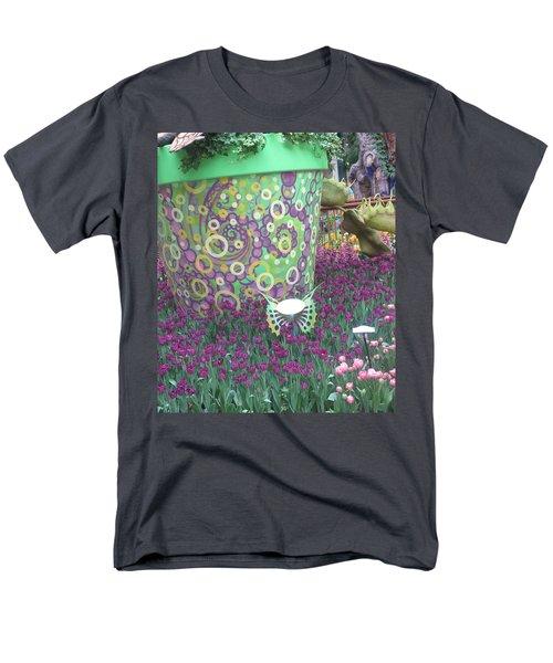 Butterfly Park Garden Painted Green Theme Men's T-Shirt  (Regular Fit) by Navin Joshi