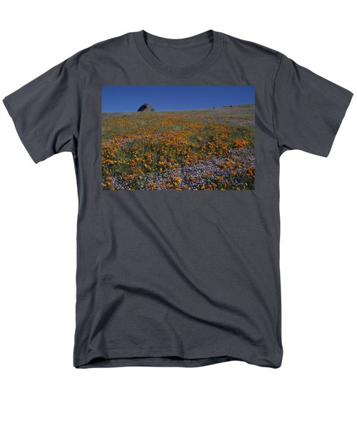 California Gold Poppies And Baby Blue Eyes Men's T-Shirt  (Regular Fit) by Susan Rovira