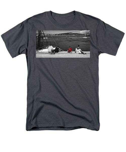 Men's T-Shirt  (Regular Fit) featuring the photograph Catching Crabs In Red by Meirion Matthias