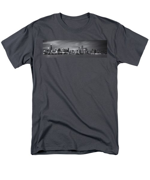 Chicago Skyline At Night Black And White Panoramic Men's T-Shirt  (Regular Fit) by Adam Romanowicz