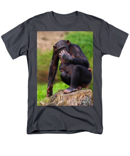 Chimp With A Baby On Her Belly  Men's T-Shirt  (Regular Fit) by Nick  Biemans