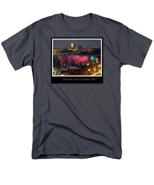 Christmas Spirit At Niagara Falls - Holiday Card Men's T-Shirt  (Regular Fit) by Lingfai Leung