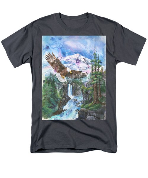 Men's T-Shirt  (Regular Fit) featuring the painting Cleared For Landing Mount Baker by Sherry Shipley