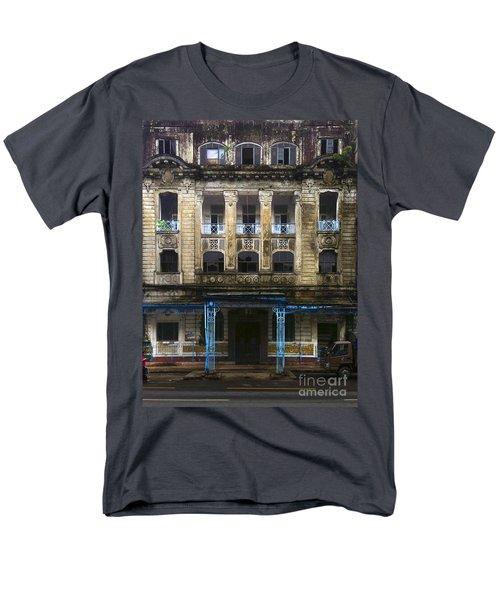Men's T-Shirt  (Regular Fit) featuring the photograph Colonial Facade Merchant Street 8th Ward Central Yangon Burma by Ralph A  Ledergerber-Photography