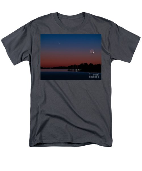 Comet Panstarrs And Crescent Moon Men's T-Shirt  (Regular Fit) by Charles Hite