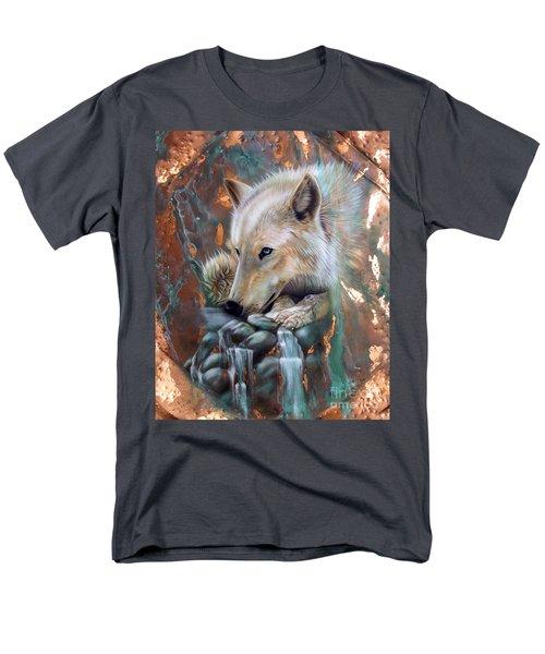 Copper Arctic Wolf Men's T-Shirt  (Regular Fit) by Sandi Baker