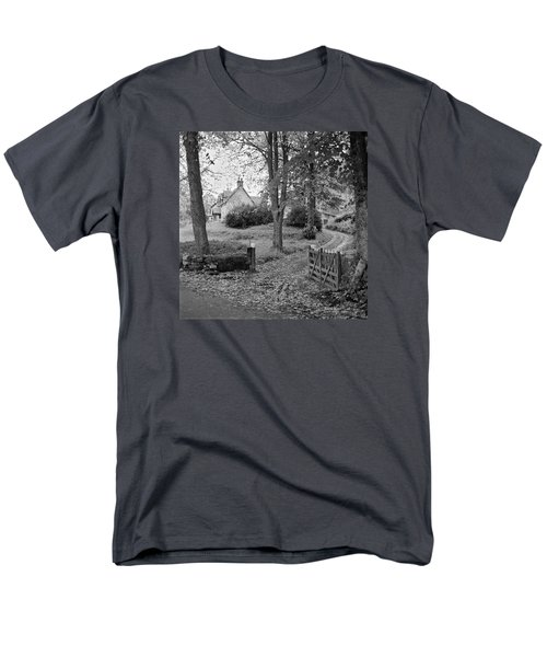 Men's T-Shirt  (Regular Fit) featuring the photograph Cottage On Loch Ness - Scotland 1972 - Travel Photography By David Perry Lawrence by David Perry Lawrence