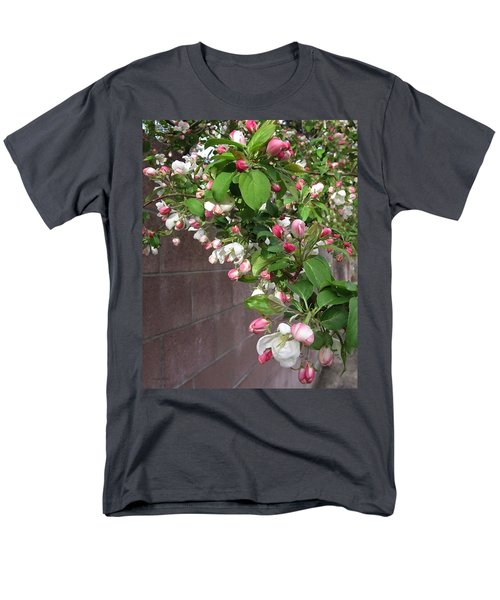 Crabapple Blossoms And Wall Men's T-Shirt  (Regular Fit) by Donald S Hall