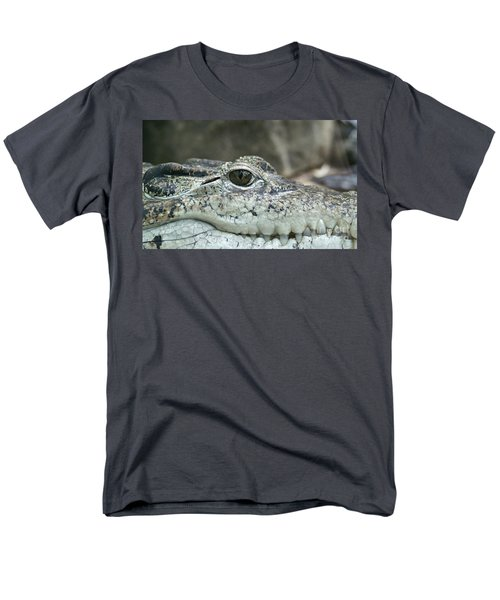 Men's T-Shirt  (Regular Fit) featuring the photograph Crocodile Animal Eye Alligator Reptile Hunter by Paul Fearn