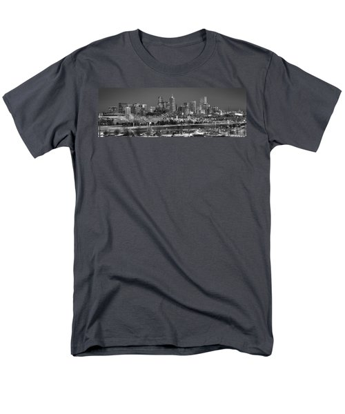 Men's T-Shirt  (Regular Fit) featuring the photograph Denver Skyline At Dusk Black And White Bw Evening Panorama Broncos Colorado  by Jon Holiday