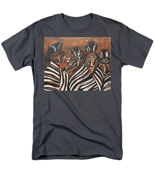 Men's T-Shirt  (Regular Fit) featuring the painting Zebra Bar Crowd by Diane Pape