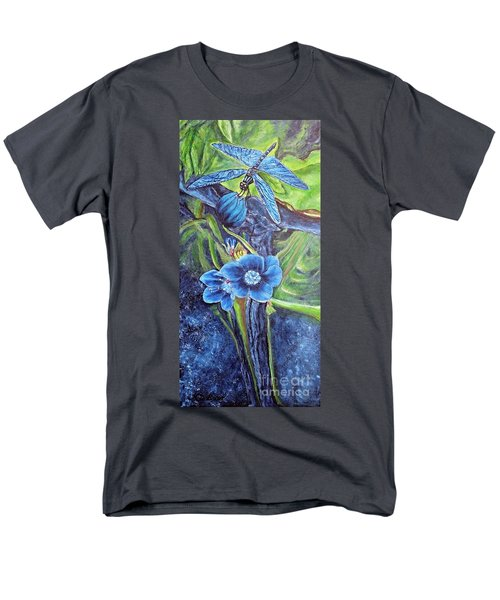 Dragonfly Hunt For Food In The Flowerhead Men's T-Shirt  (Regular Fit) by Kimberlee Baxter