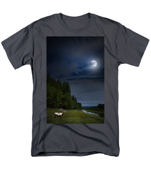 Elk Under A Full Moon Men's T-Shirt  (Regular Fit) by Belinda Greb