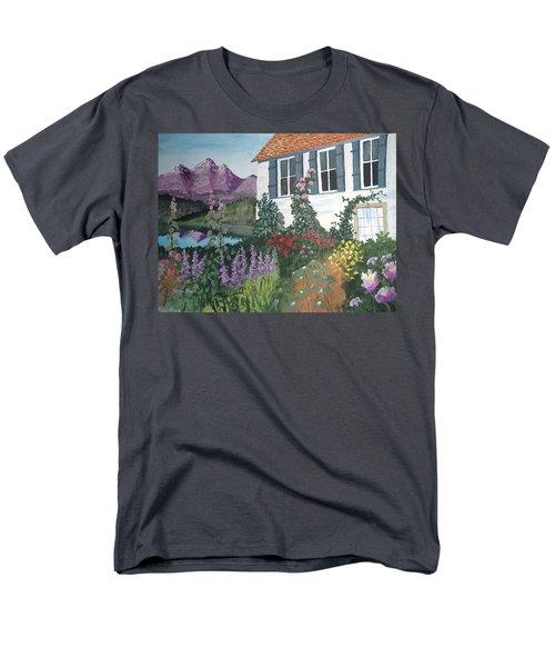 Men's T-Shirt  (Regular Fit) featuring the painting European Flower Garden by Norm Starks