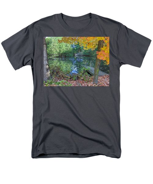 Men's T-Shirt  (Regular Fit) featuring the photograph Fall Scene By Pond by Brenda Brown